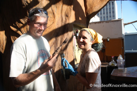 Scott and Bernadette West with the Magic Beer Tree, Preservation Pub Rooftop, Knoxville, October 2013