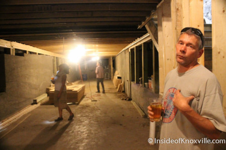 Scott West gives a tour of the basement of Scruffy City Hall, Knoxville, October 2013