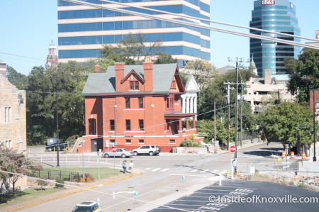 View of the Mary Boyce Temple House from the Penthouse, Maplehurst Inn, 800 West Hill Avenue, Knoxville, October 2013