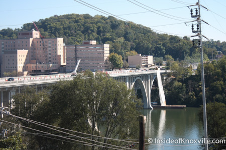 View of the Bridge and Baptist Hospital from the Penthouse, Maplehurst Inn, 800 West Hill Avenue, Knoxville, October 2013