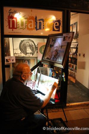 Artist on 100 Block of Gay Street, Knoxville, November 2013
