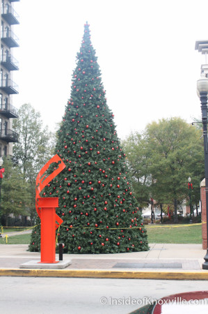 Christmas Tree and Sculpture on Krutch Park, Knoxville, November 2013