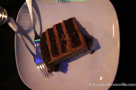 Chocolate Cake from Magpies, Icon Restaurant and Lounge, Sunsphere, Knoxville, November 2013