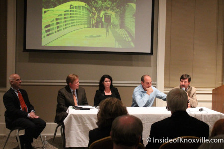 Joe Petre, Kim Henry, Tim Hill, Mark Heinz on a Panel at the Downtown Summit, East Tennessee History Center, Knoxville, November 2013