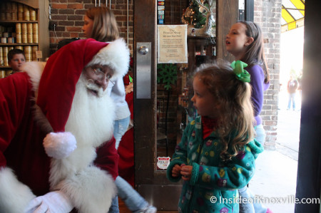 Urban Girl with Santa in the Peanut Shop, Knoxvlle, November 201
