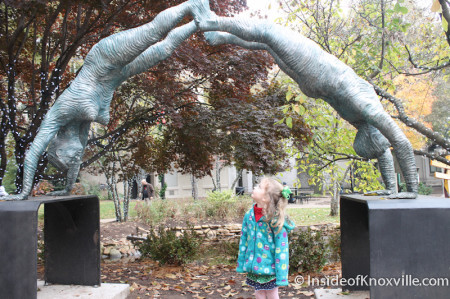 Urban Girl with Sculpture, Krutch Park, Knoxville, November 2013