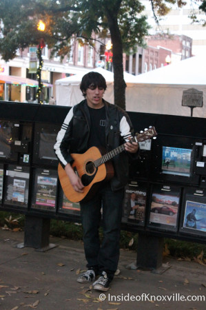 Young Busker on Market Square, Knoxville, November 2013