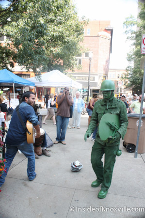 Buskers Meet the Army Guy, Market Square, Autumn 2013