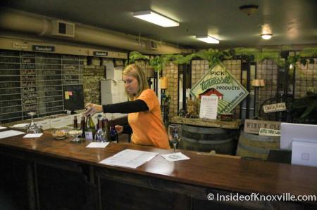 Ashley serves samples at Blue Slip Winery, Jackson Avenue, Knoxville, January 2013