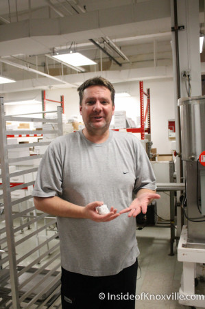 Owner Bradley Hamlett at Bradley's Chocolate Factory, Knoxville, January 2014