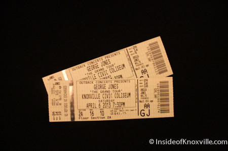 Tickets to the final George Jones Concert, Knoxville, April 2013