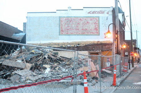 Demolition of Lucille's, Old City, Downtown Knoxville, Autumn 2013