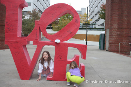 Urban Girl Makes a Friend, Market Square, Knoxville, Fall 2013