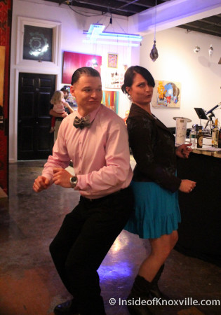 Nathaniel and Carrie busting a move, Art and Jazz for the Cure with Paulk and Company, 510 Williams Street, Knoxville, February 2014