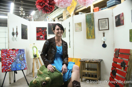 Carrie Hamilton and her art, Art and Jazz for the Cure with Paulk and Company, 510 Williams Street, Knoxville, February 2014