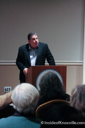 Brian Larson speaks of the Farragut Hotel, 530 S. Gay Street, Knoxville, February 2014
