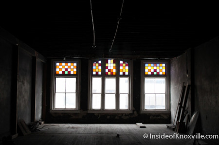 Original Windows overlooking Gay Street, Century Building, 312 S. Gay Street, Knoxville, February 2014