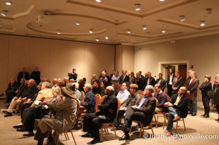 Crowd at the ETHC to hear of the Farragut Hotel Redevelopment, 530 S. Gay Street, Knoxville, February 2014