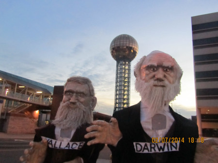 Wallace and Darwin in front of the Sunsphere.