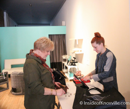 Urban Woman Makes a Purchase at Style of Civilization, Knoxville, February 2014