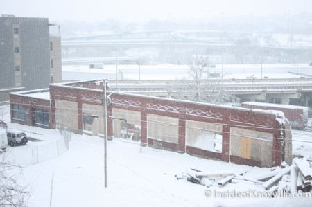 Remnants of the McClung Warehouses, Knoxville in the Snow, February 13, 2014