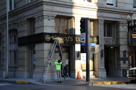 Clancy's Sign Installation, Gay Street, Knoxville, March 2014
