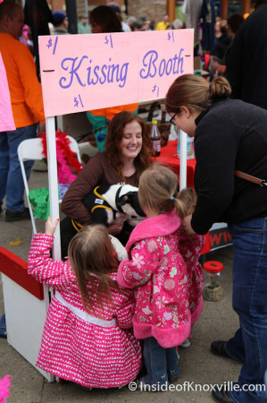 Kissing Booth with a PIt Bull, Mardi Growl, Knoxville, March 2014