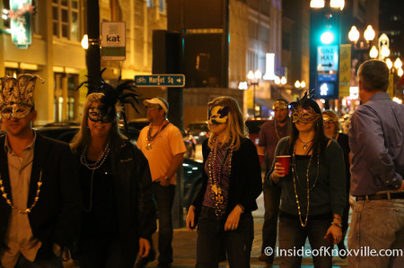 Mardi Gras Revelers, Gay Street, Knoxville, 2014