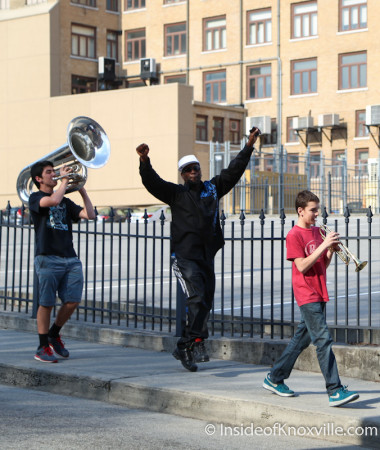 Spontaneous Marching Band, Walnut Street, Knoxville, March 2014