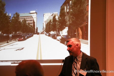 Rick Emmett takes questions regarding the 700 Block of Gay Street, Streetscape Plan, Knoxville, April 2014