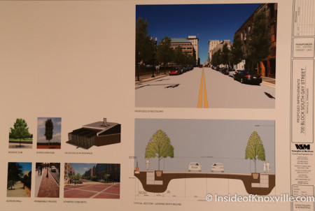 Proposed design, 700 Block of Gay Street, Streetscape Plan, Knoxville, April 2014