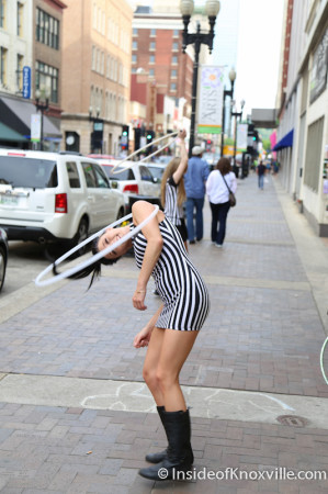 Hooping outside Sky Bar, Gay Street, Knoxville, May 2014