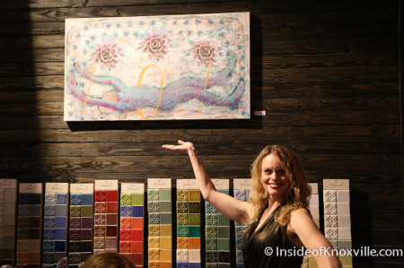 Virginia poses with sold piece of Zach Searcy's art, Paulk and Company, Knoxville, May 2014
