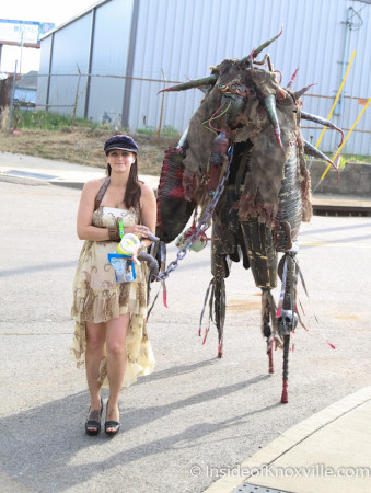 Meaghan Estes and her Monster Friend, Steampunk Carnivale 2014, Knoxville