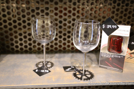 Wine Glasses for Gear Heads, Local Motors, 11 Market Square, Knoxville, June 2014