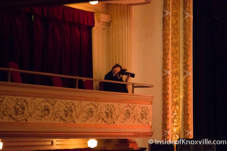 Eric Smith shooting the Marble City Five Plus Six, Bijou Theatre, Knoxville, July 2014