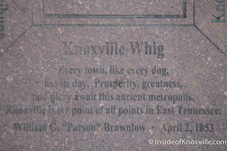 Inscription on Market Square, Knoxville, July 2014