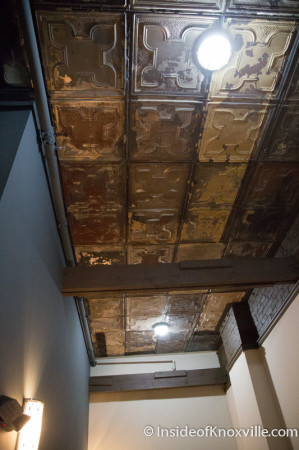 Original Ceiling Tiles were Preserved and Re-used where possible, Tailor Lofts, 430 South Gay Street, Knoxville, July 2014