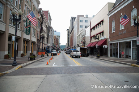 Gay Street devoid of color, Knoxville, August 2014