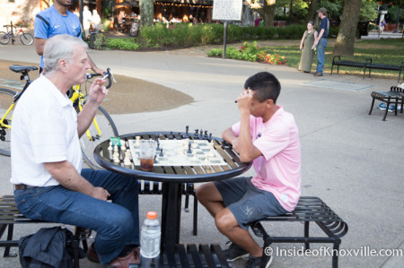 Richard playing Chess, Market Square, Knoxville, August 2014
