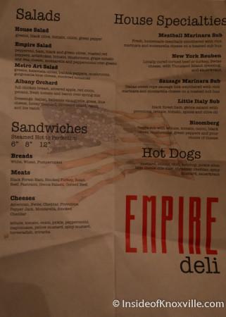 Menu, Empire Deli, Downtown Knoxville, August 2014