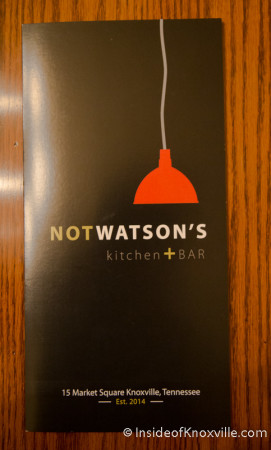 Menu, Not Watson's, Market Square, Knoxville, August 2014