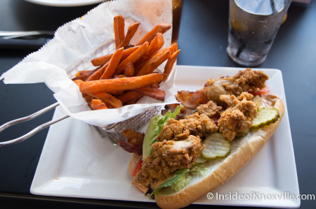 Oyster Po Boy with Sweet Potato Fries, Not Watson's, Knoxville, August 2014