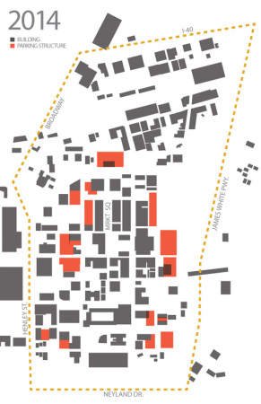 Density Diagram with Parking Garages, Knoxville, 2013