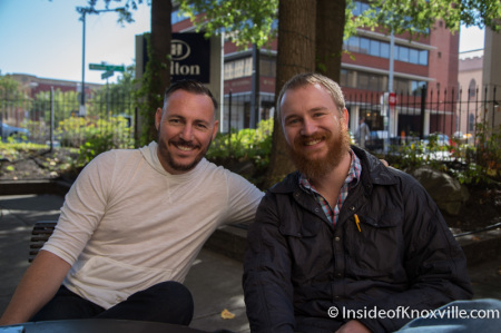 Brad Peer, Owner, Flow a Brew Parlor, 706 Main Street, with Ben Hubbard of The Village Marketing, Knoxville, September 2014