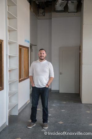 Brad Peer inside space for Flow a Brew Parlor, 706 Main Street, Knoxville, September 2014
