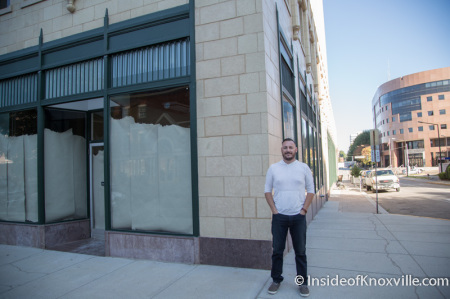 Brad Peer outside space for Flow a Brew Parlor, 706 Main Street, Knoxville, September 2014