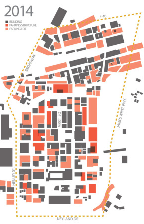 Density Diagram with Parking Structures and Lots, Knoxville, 2014