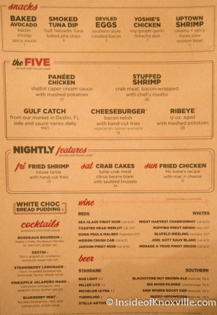 Menu, Five Bar, Knoxville, September 2014