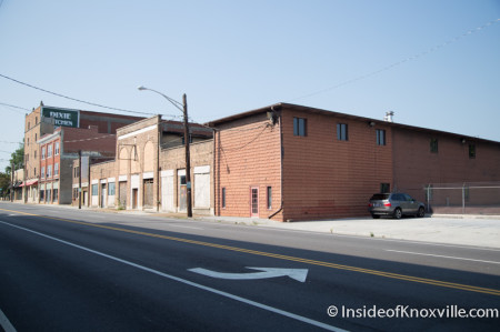 Sanitary Laundry Building and Neighboring Buildings, Broadway near Central, Knoxville, August 2014